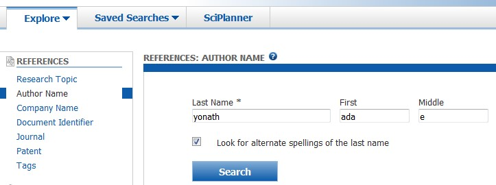 Screen example of an author search