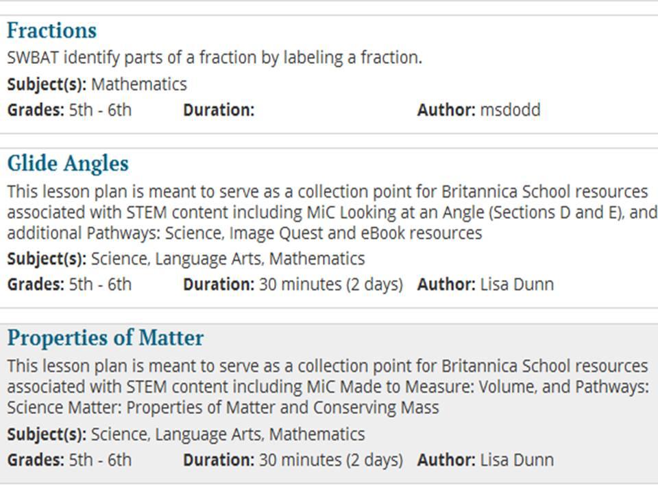 Britannica Lesson Plans