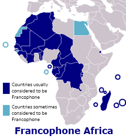 graphic showing map of Francophone Africa