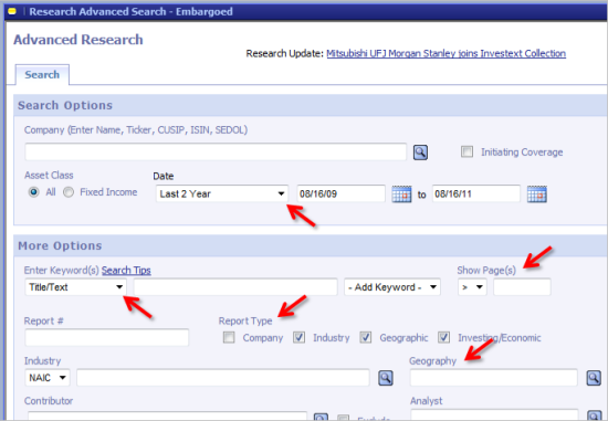 Screenshot of Advanced Search screen for Investext/Research