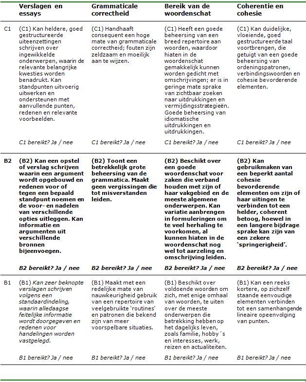 ERK beoordelingsformulier B2