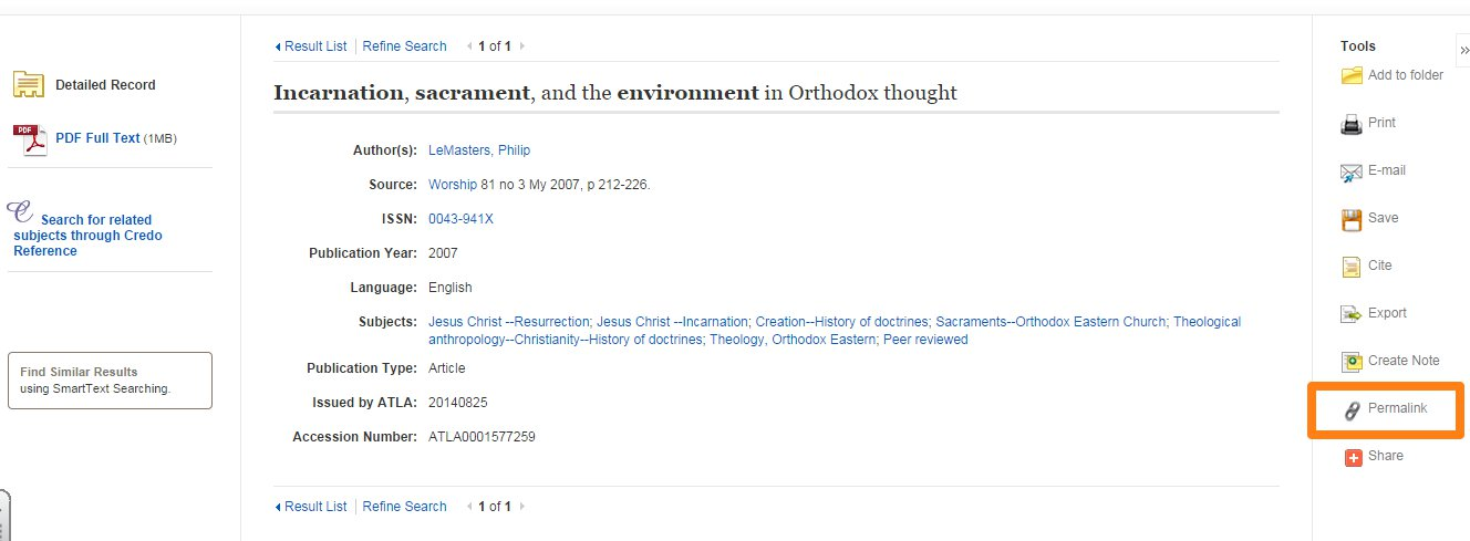 Permalink link highlighted in record view in Ebsco