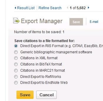 Direct Export in RIS Format