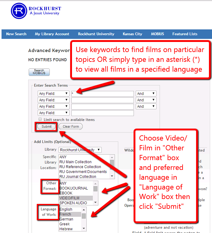 Screenshot of Advanced Keyword Search page highlighting features