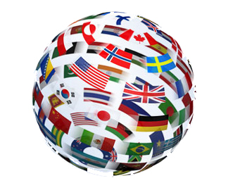 Globe made up up various nations' flags