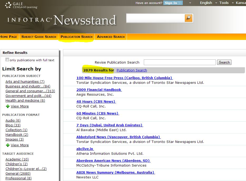 Image displays Infotrac Publication Search, by newspaper name
