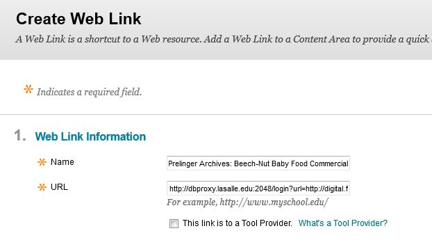 screenshot of BlackBoard Create Web Link page
