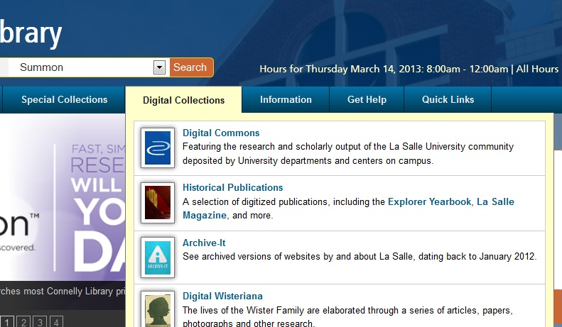 Digital Commons from the library homepage