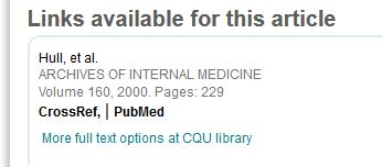 PArt of record for heparin article showing links to full text options