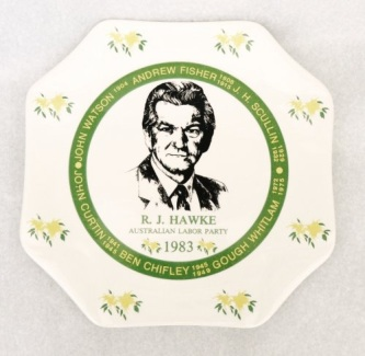Ceramic plaque featuring image of Bob Hawke; Image source: UniSA Library