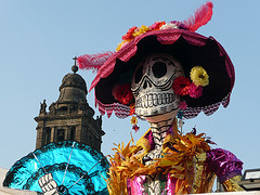 Giant Calavera de la Catrina in the Zocalo