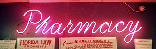 "Pink neon ""Pharmacy"" sign"