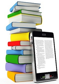 Smartphone leaning against a stack of books