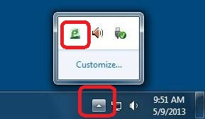 PrintSmart in system tray;