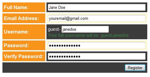 Screenshot of fields to enter personal info