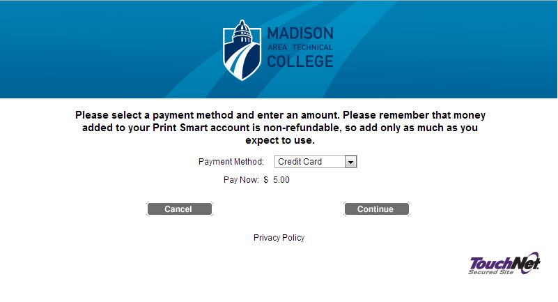 Window to confirm and choose payment method