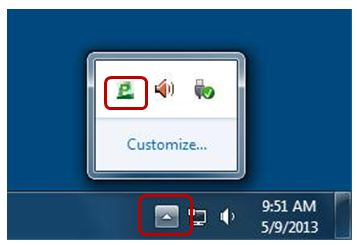 screenshot showing papercut icon in the computer's desktop tray