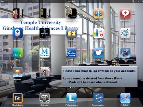 iPad screenshot showing icons installed