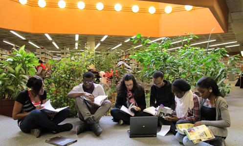 students in Fr. H. Drake Library