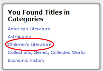 """illustration of choosing """"children's literature"""" from """"you found titles in categories"""" list in catalog search"""
