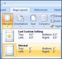 Margin settings in Word
