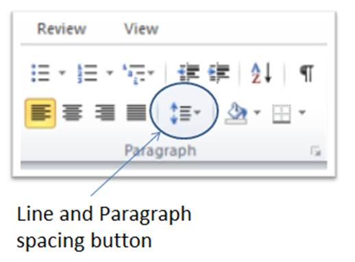 Line and paragraph spacing button