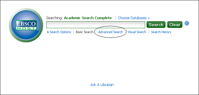 Academic Search Complete; advanced search link is highlighted