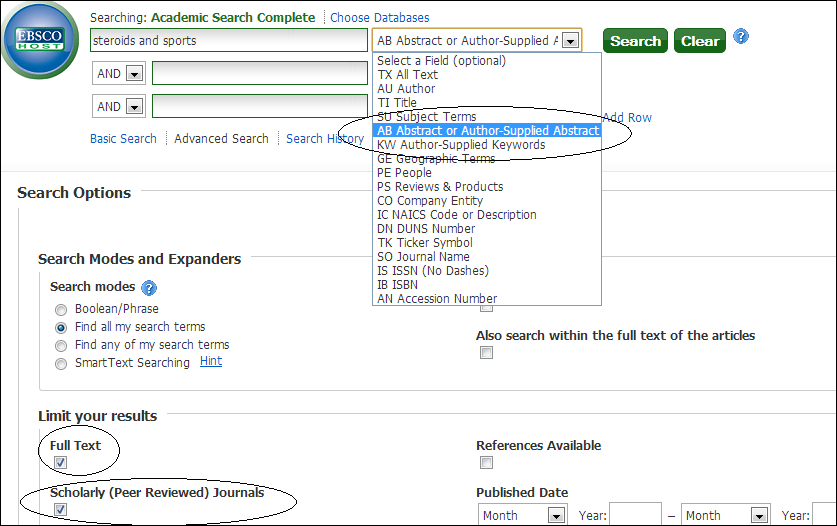 Advanced search page of Academic Search.  Full text and Scholarly/Peer-reviewed journal boxes are marked.