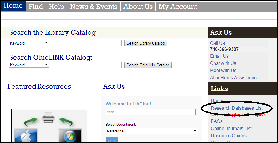 Library website, link to Research Databases is highlighted