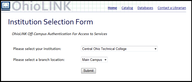 OhioLINK Institution Selection Form