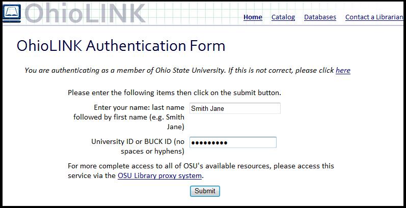 OhioLINK Authentication form