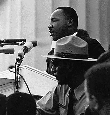 "Dr. Martin Luther King giving his ""I have a dream speech."""