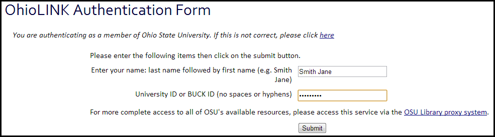 Off campus sign in page with name and ID number entered.