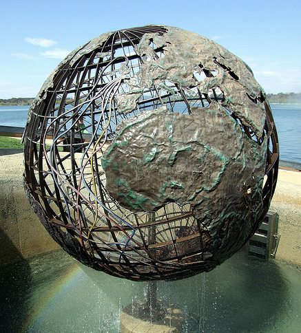 Globe and fountain