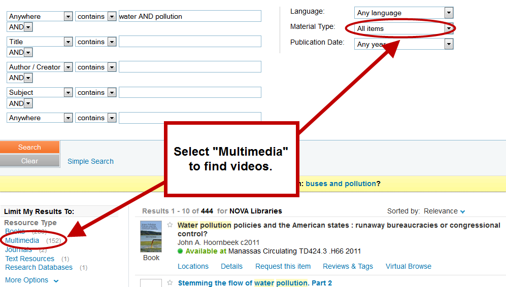 Select Multimedia for videos