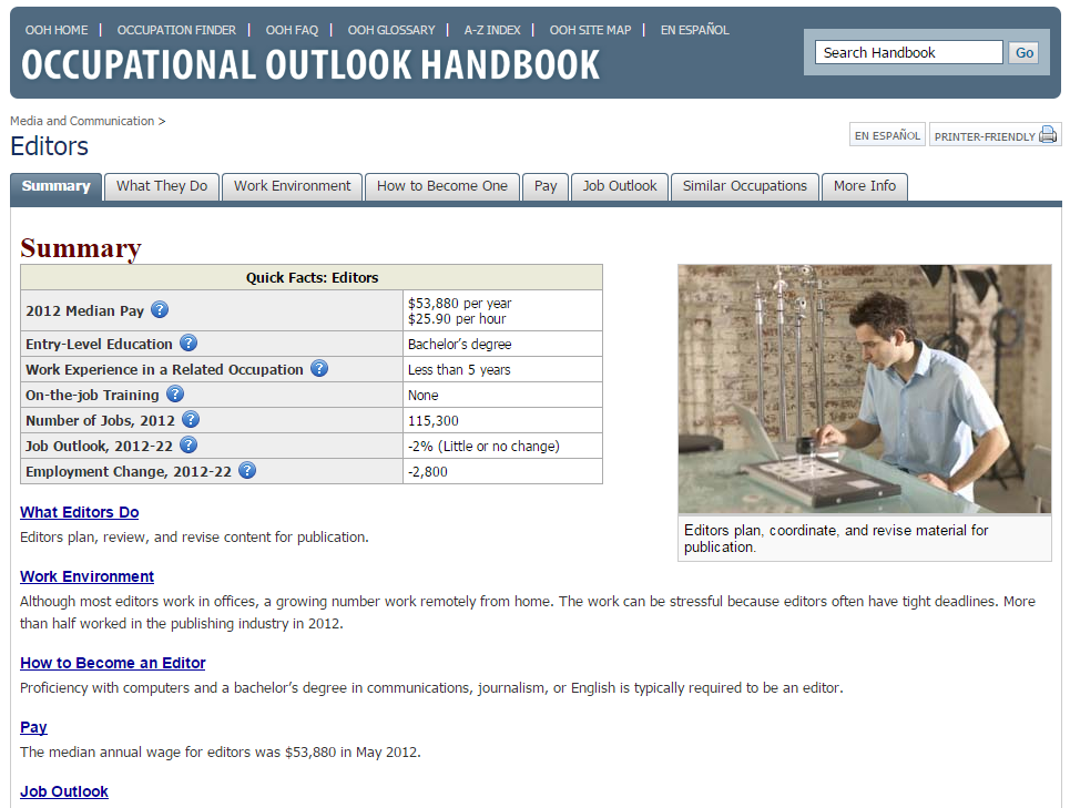 occupational outlook handbook editor
