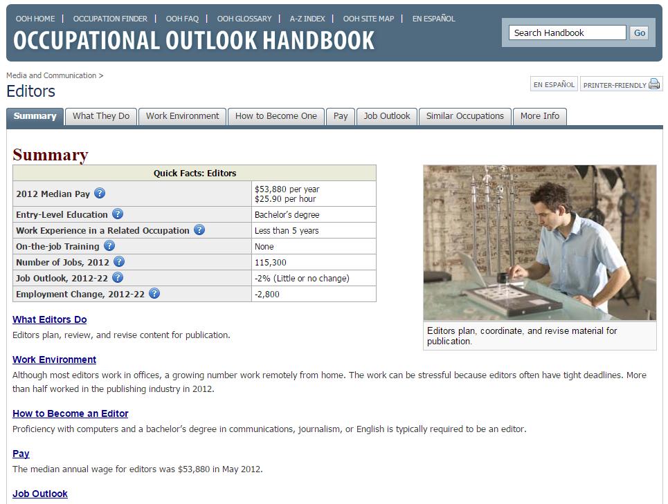 occupational outlook handbook editor
