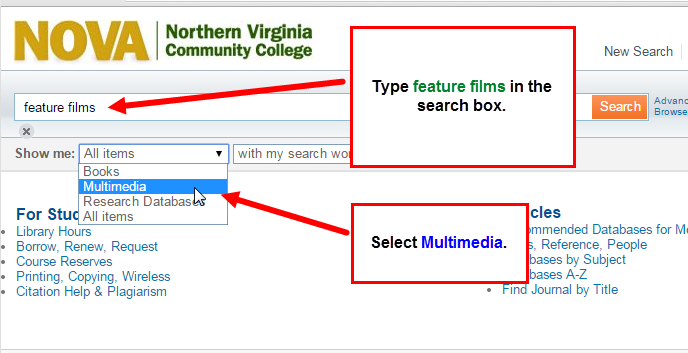 library catalog feature films search
