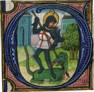 Book of Hours, St. George, Walters Manuscript W.168, fol. 217v, detail, from the Walters Art Museum.