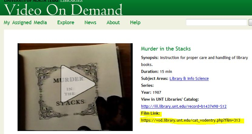 Screenshot of Videos On Demand page
