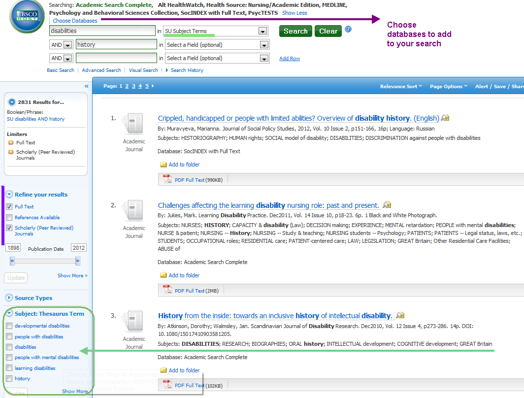 EBSCO host database and limiting results