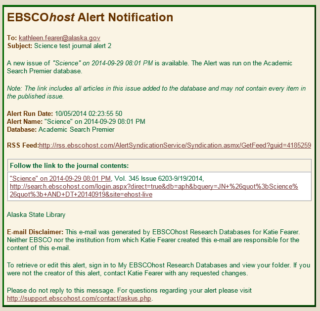 Sample EBSCOHost New Issue Alert