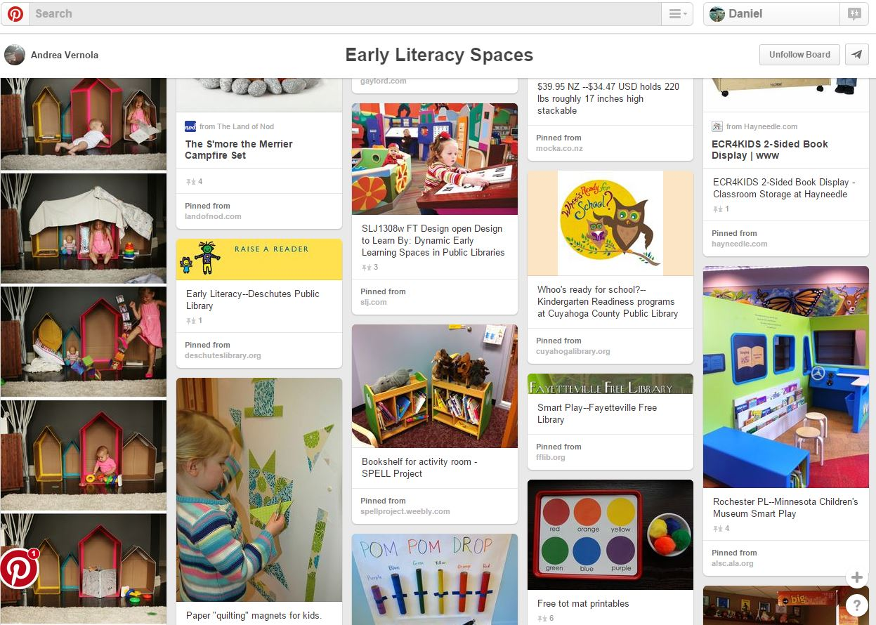 Screenshot of Pinterest board of early literacy spaces.