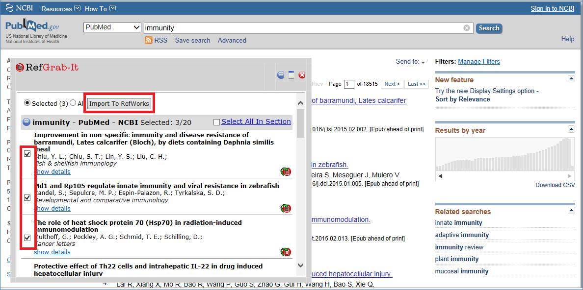 Search on PubMed and click RefGrab-it on the bookmark to export some references into RefWorks