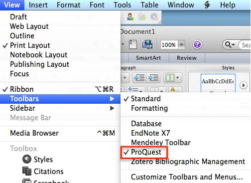 """View"" 메뉴> ""Toolbars"" 선택 > ""ProQuest 또는 Write-N-Cite ""를 선택"
