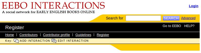 Cabecera del portal de EEBO Interactions con un buscador