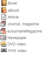 icons of library materials to include: book, ebook, article, journal, ejournal, newspaper, DVD, and VHS