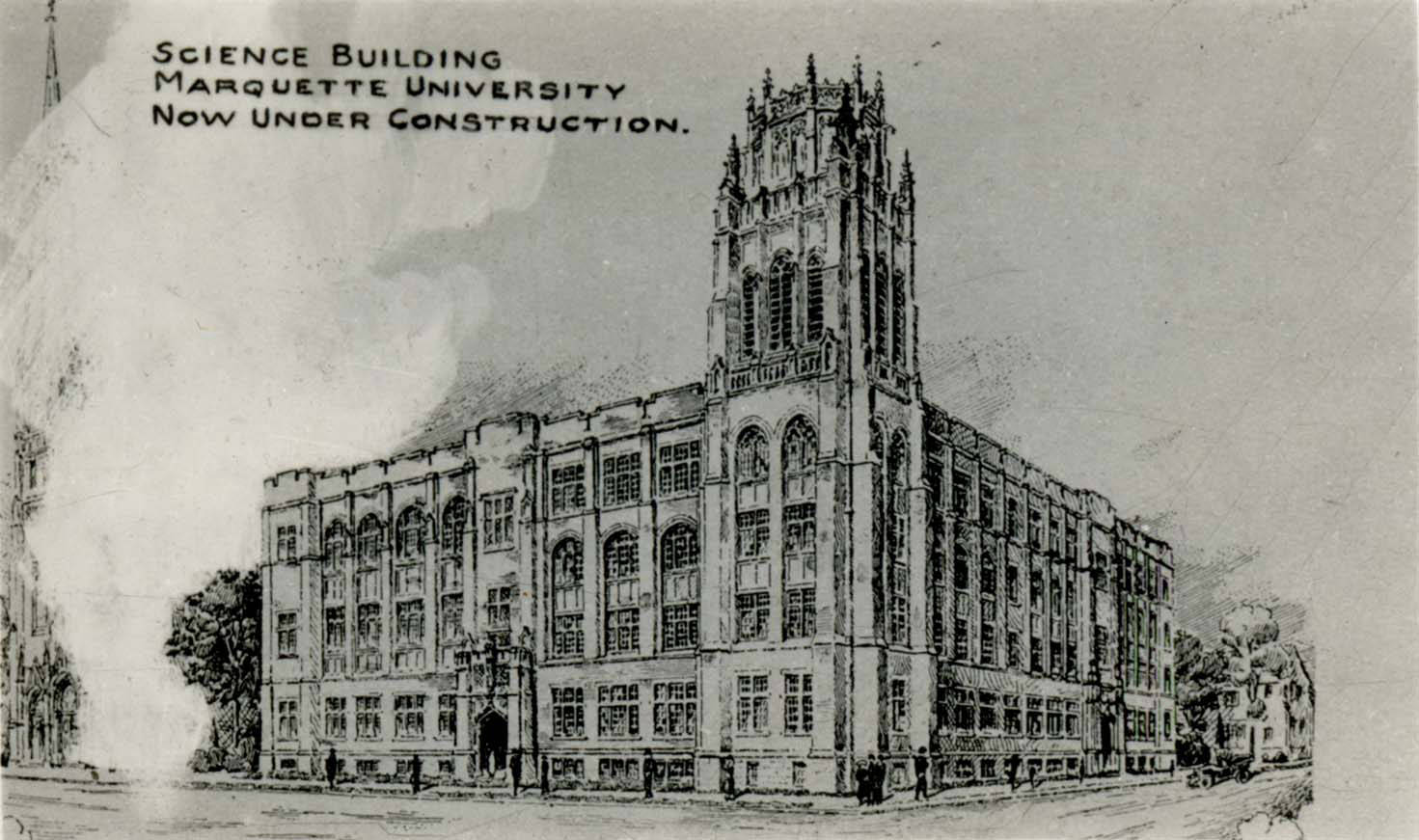 Drawing of Marquette Hall as viewed from the northwest corner of the building, 1925