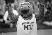 Black & White photo of Marquette's mascot Bluetoe