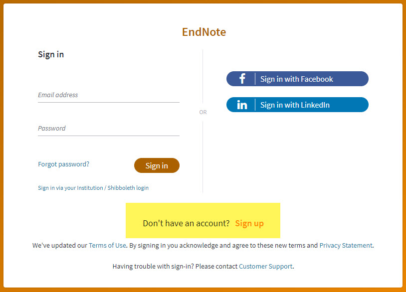 EndNote Sign-In Page